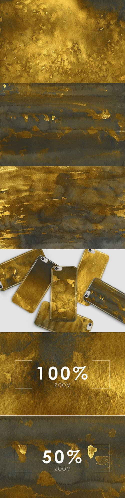Golden Watercolor & Ink Backgrounds