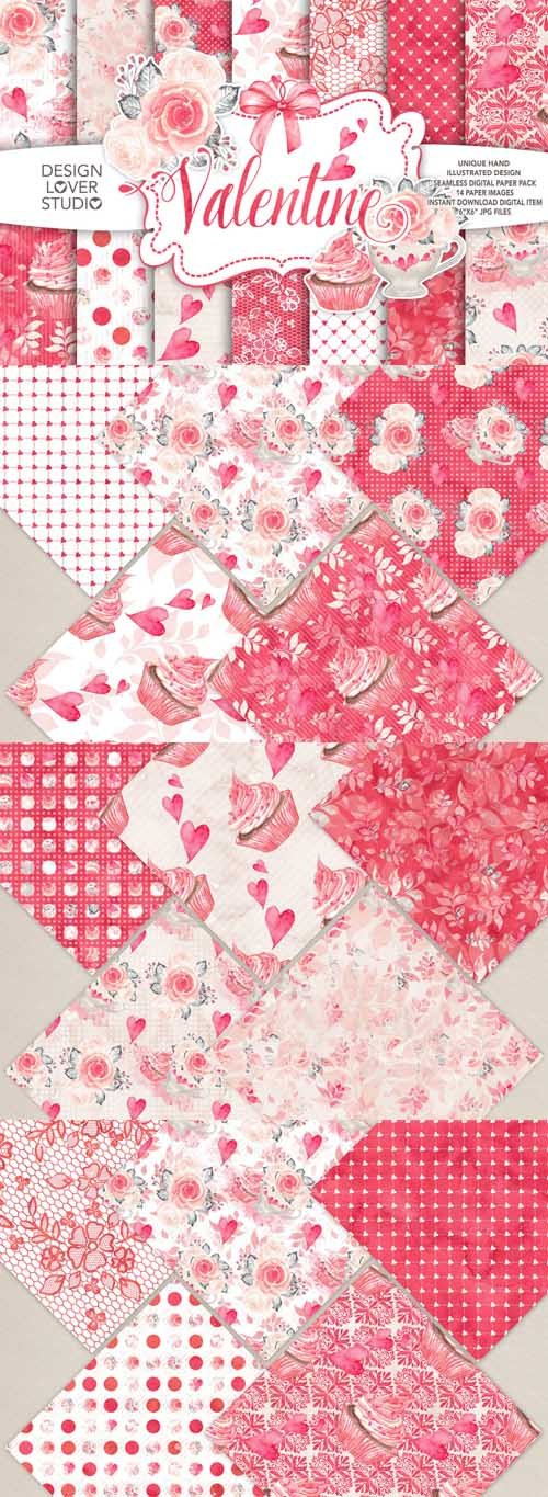 Watercolor Sweet Valentine Digital Paper Pack