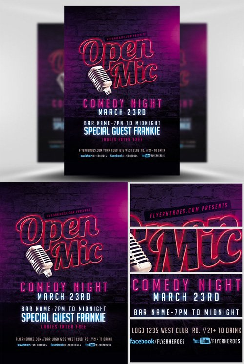 Flyer Template - Open Mic Comedy Night 2