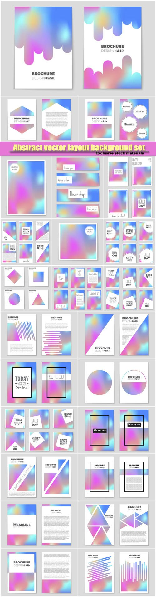 Abstract vector layout background set, template design, brochure and card set