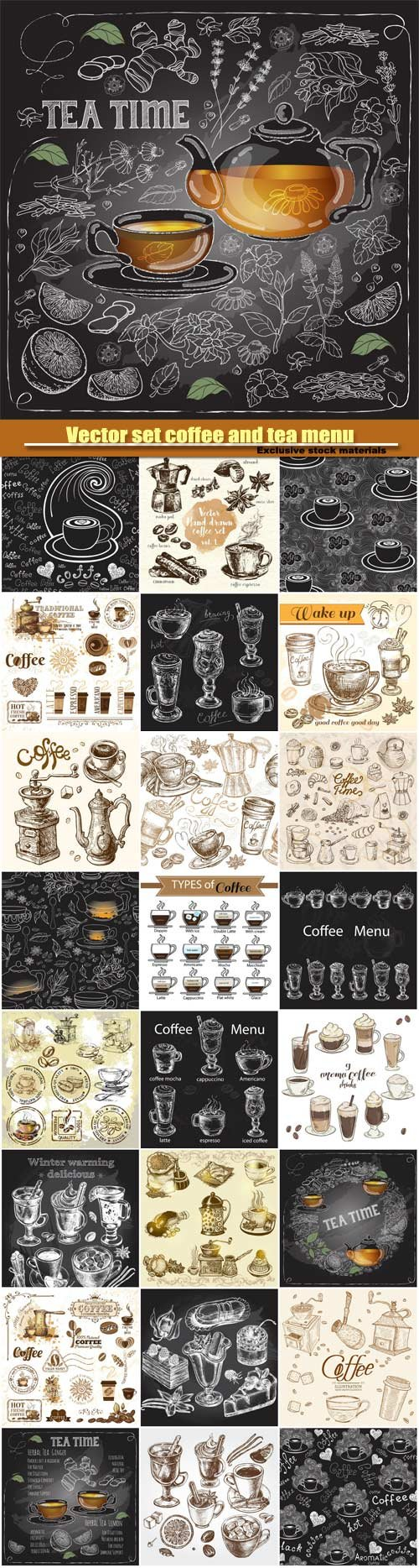 Vector hand drawn set coffee and tea menu
