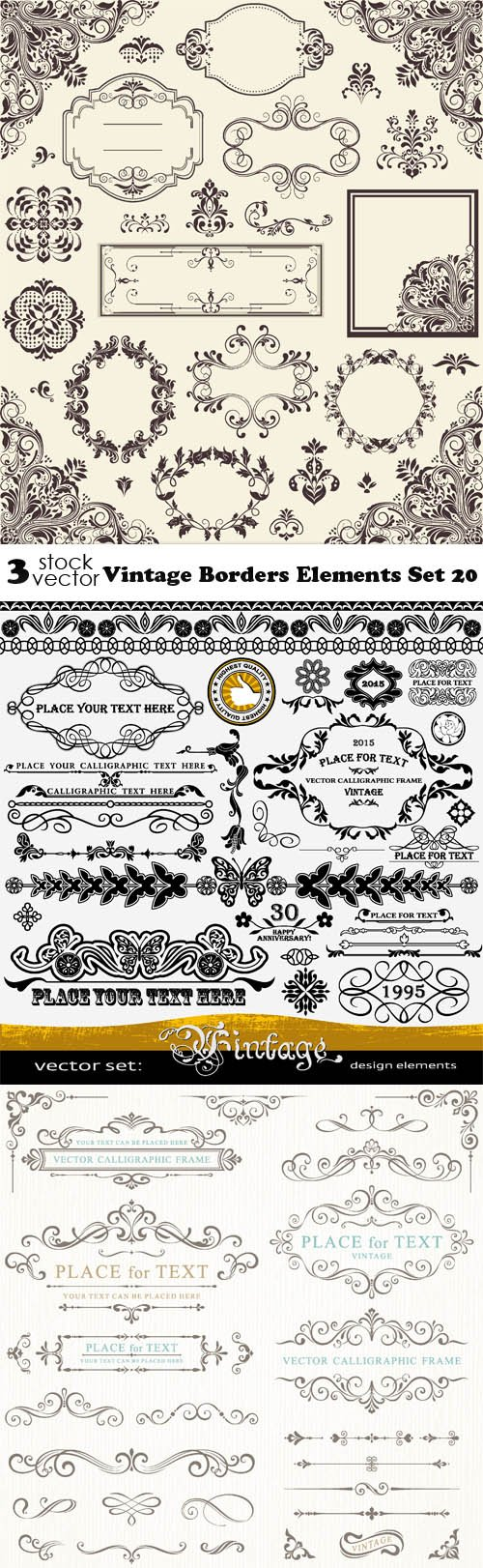 Vectors - Vintage Borders Elements Set 20