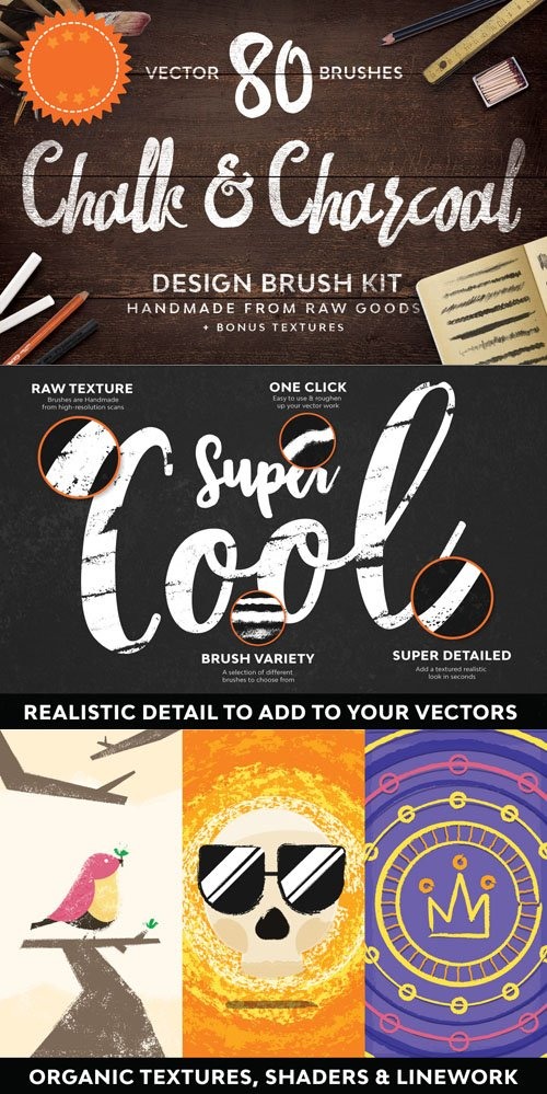 Chalk & Charcoal Vector Brushes Sample [AI]