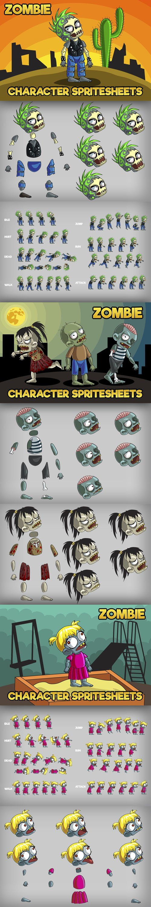 2D Game Zombie Characters With Animations - Sprite Pack [AI/PNG]