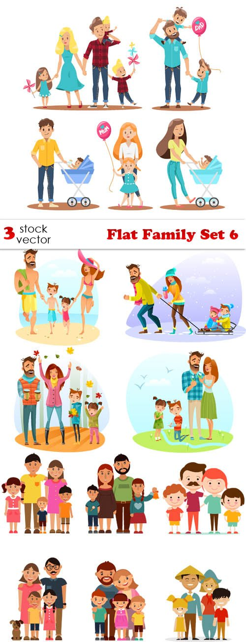 Vectors - Flat Family Set 6