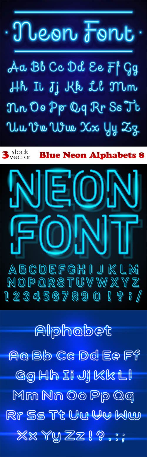 Vectors - Blue Neon Alphabets 8