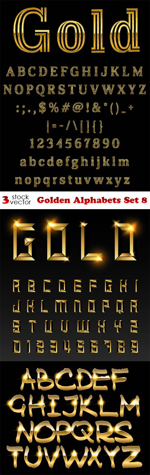 Vectors - Golden Alphabets Set 8