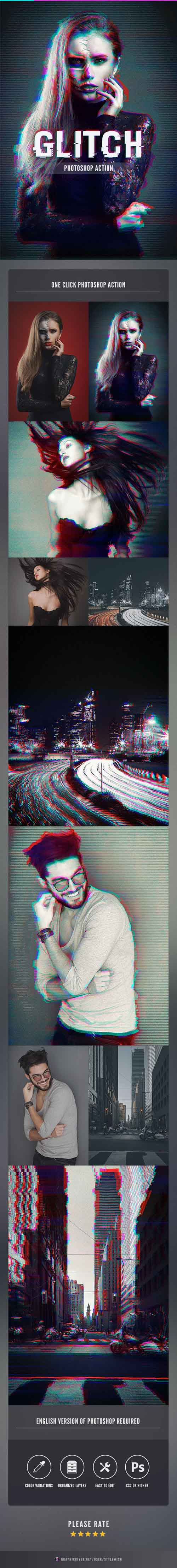 Glitch Photoshop Action 15800617