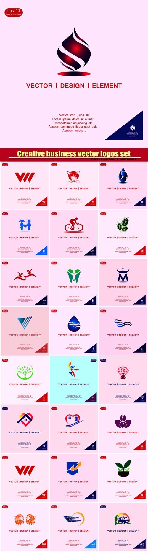 Creative business vector logos set templates