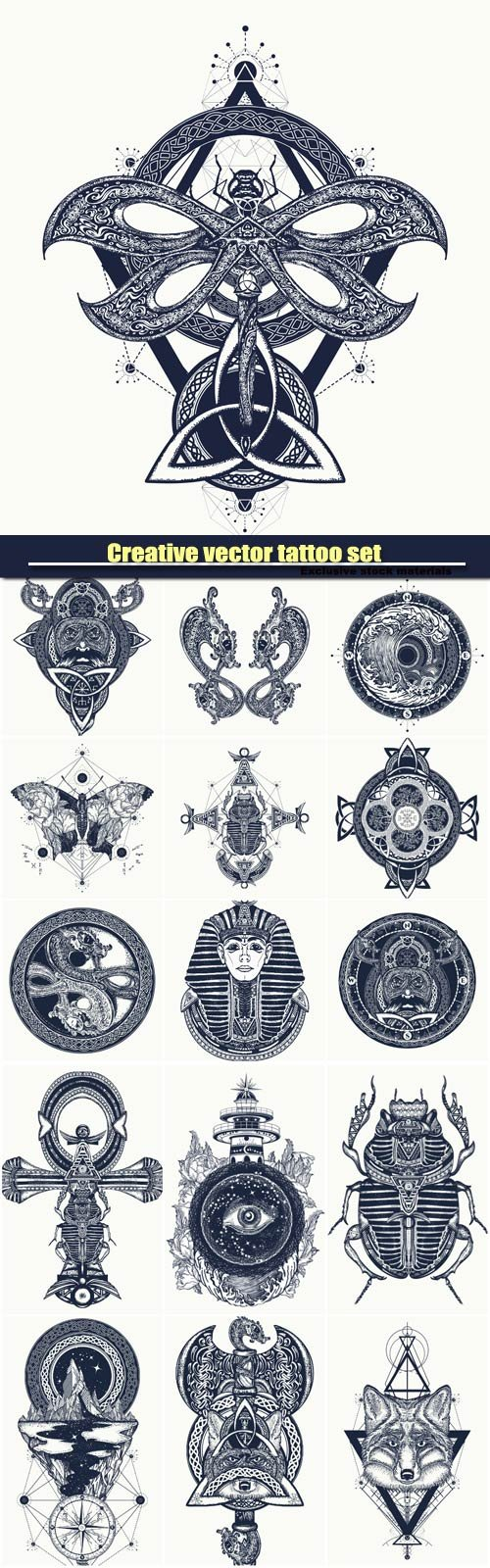 Creative vector tattoo set