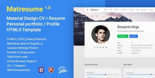 themeforest - matresume v1 0 - material cv    resume    vcard    portfolio html template
