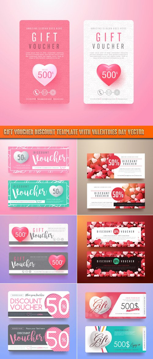 Gift Voucher discount template with Valentines day vector