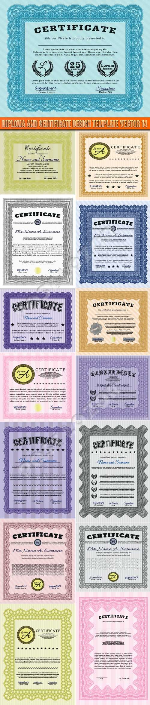 Diploma and certificate design template vector 14