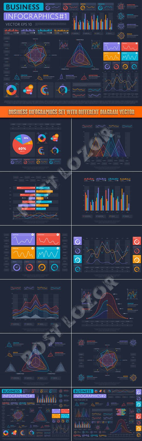 Business infographics set with different diagram vector