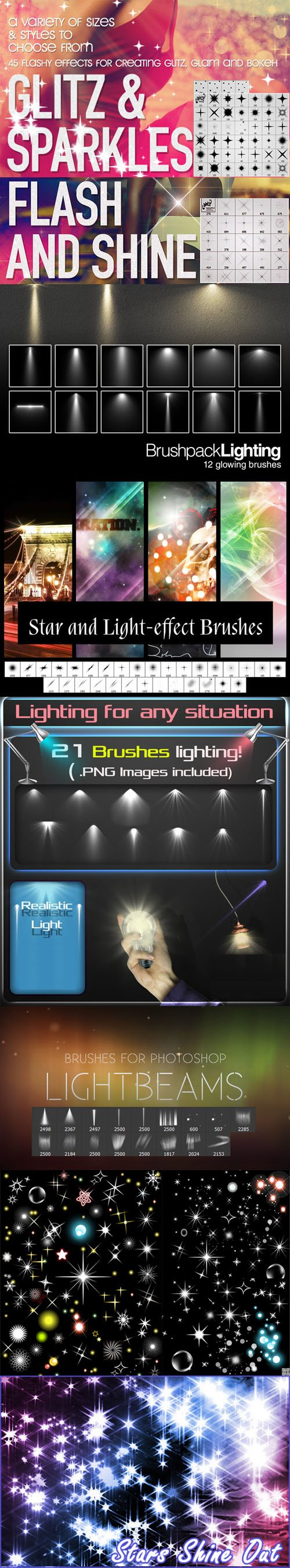 Stars & Flashy Lighting Brushes Pack for Photoshop