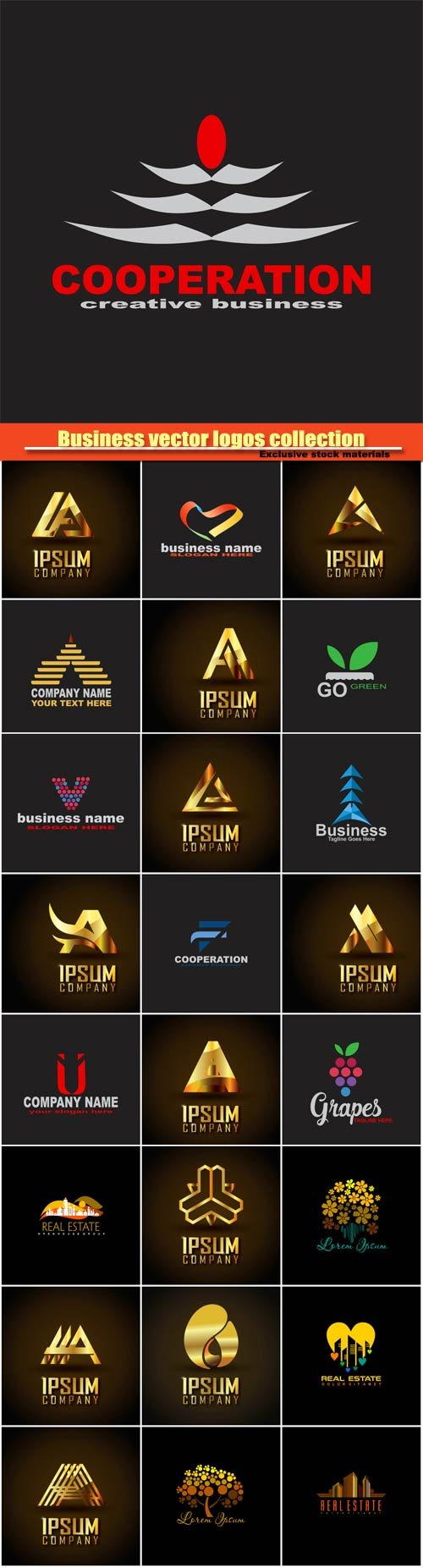Business vector logos templates collection