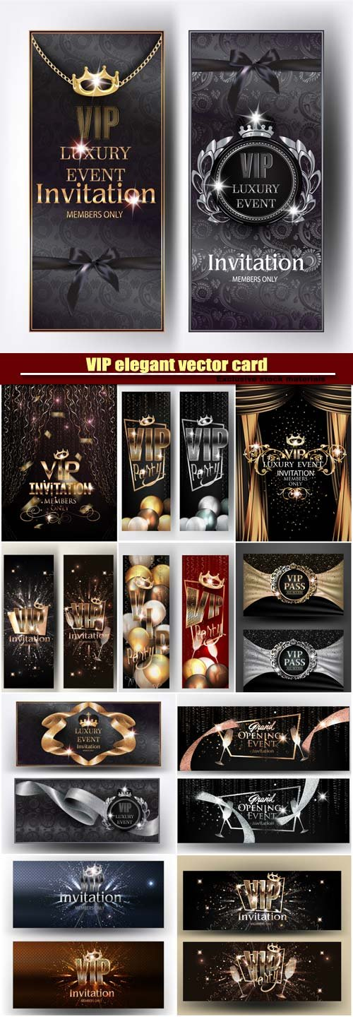VIP elegant vector card, party invitation banners