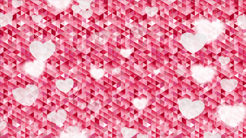 Valentine Day Polygonal Pixelated Motion Design with Blurred Hearts