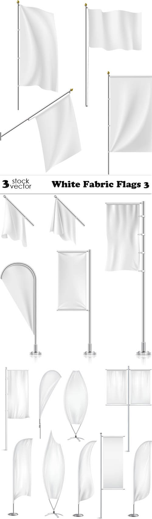 Vectors - White Fabric Flags 3