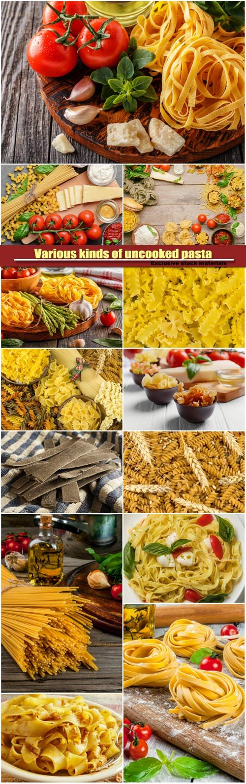 Various kinds of uncooked pasta