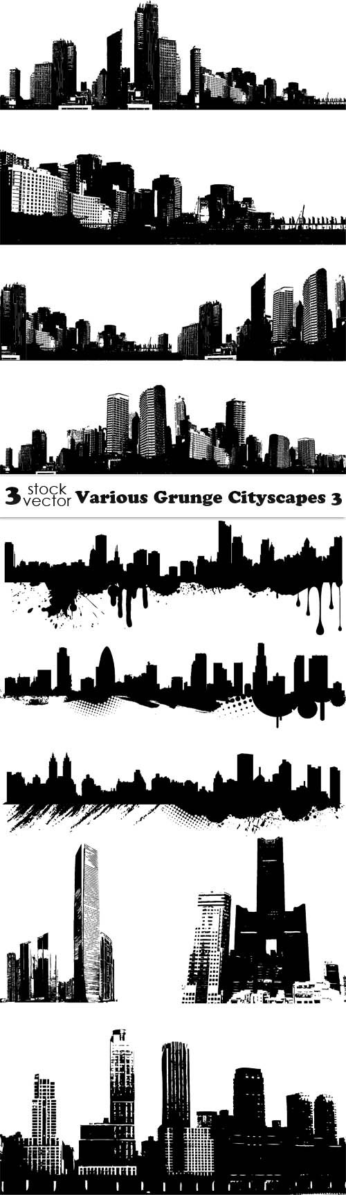 Vectors - Various Grunge Cityscapes 3