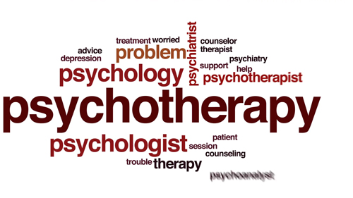 Psychotherapy animated word cloud, text design animation