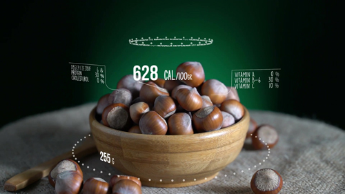 Infographic of Hazelnut with vitamins, microelements minerals. Energy, calorie and component