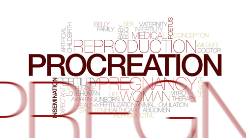 Procreation animated word cloud, text design animation. Kinetic typography