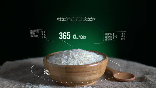 Infographic of Long Grain Rice with vitamins, microelements minerals. Energy, calorie and component