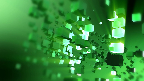 Animated 3D abstract green cubes moving with light beams