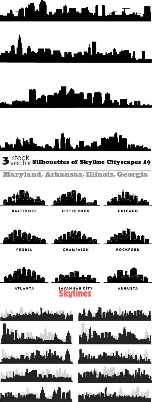 Vectors - Silhouettes of Skyline Cityscapes 19