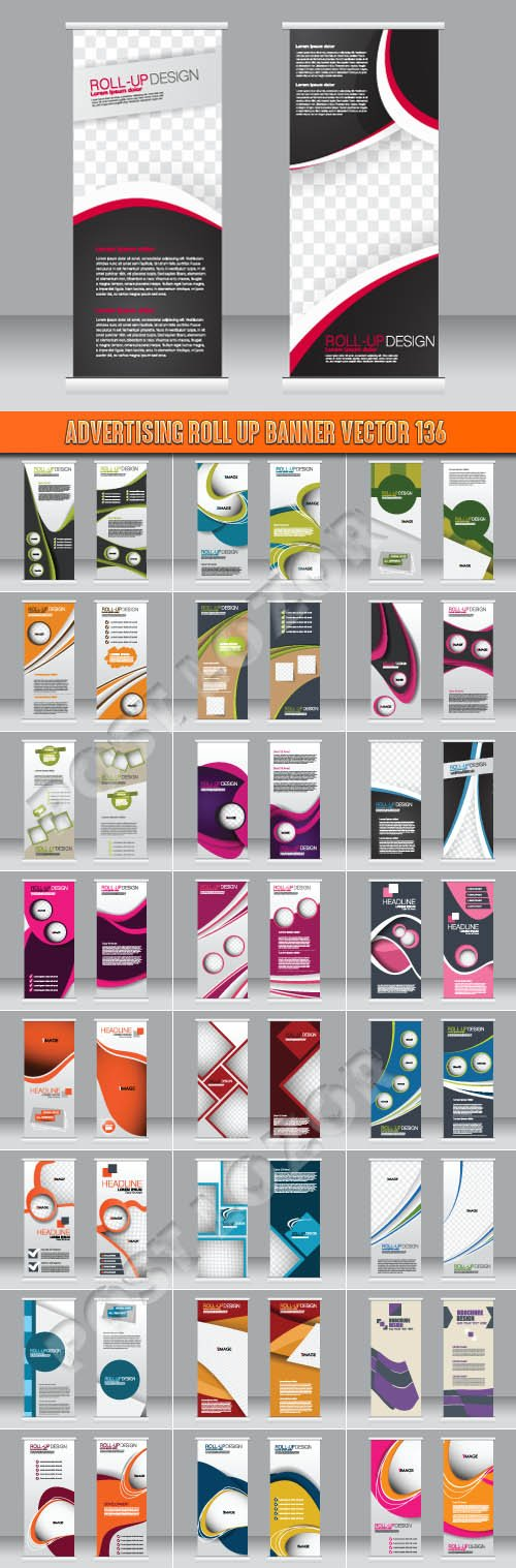 Advertising Roll up banner vector 136