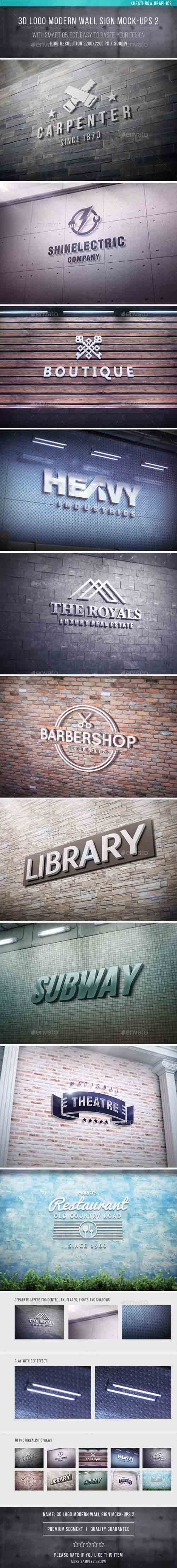3D Logo Modern Wall Sign Mock-Ups 2 19353855
