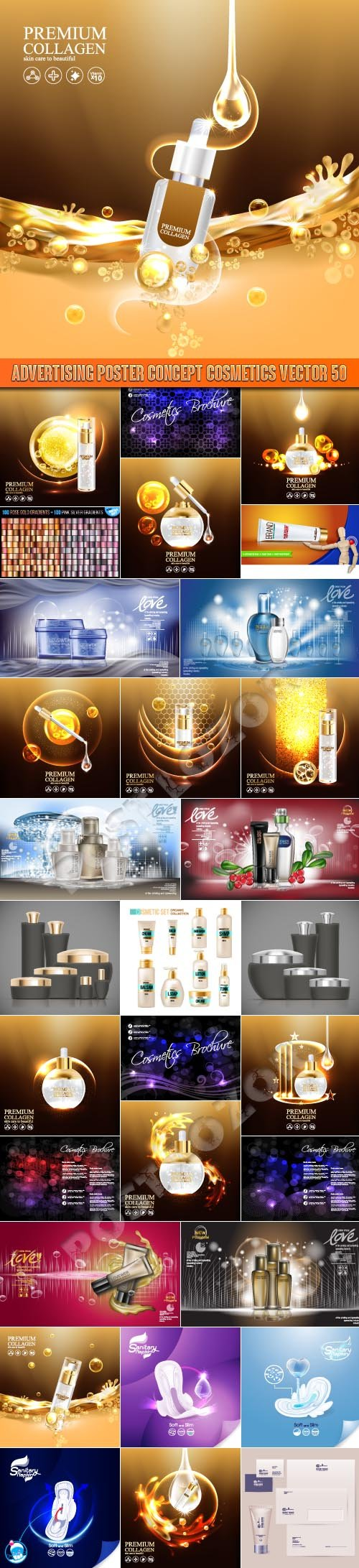 Advertising Poster Concept Cosmetics vector 50