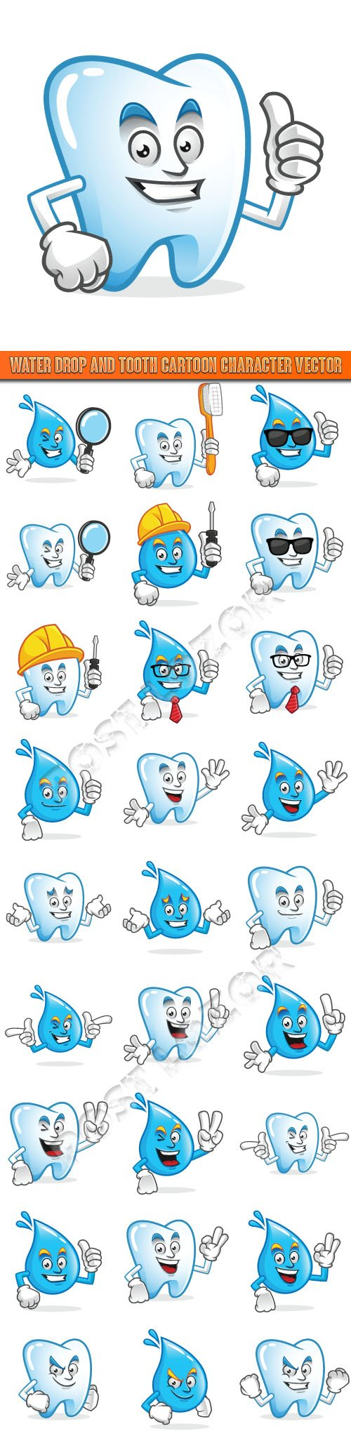 Water drop and tooth cartoon character vector