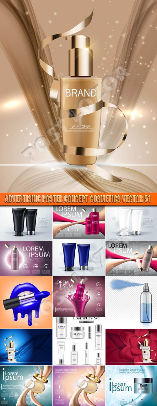 Advertising Poster Concept Cosmetics vector 51