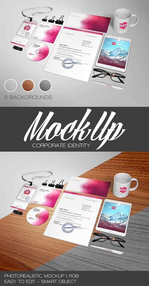Corporate Identity Layered PSD Mockup Template