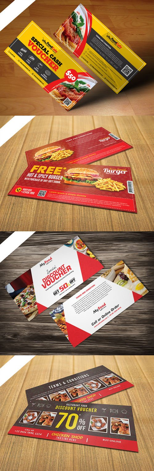 Restaurant Food Discount Voucher PSD Templates