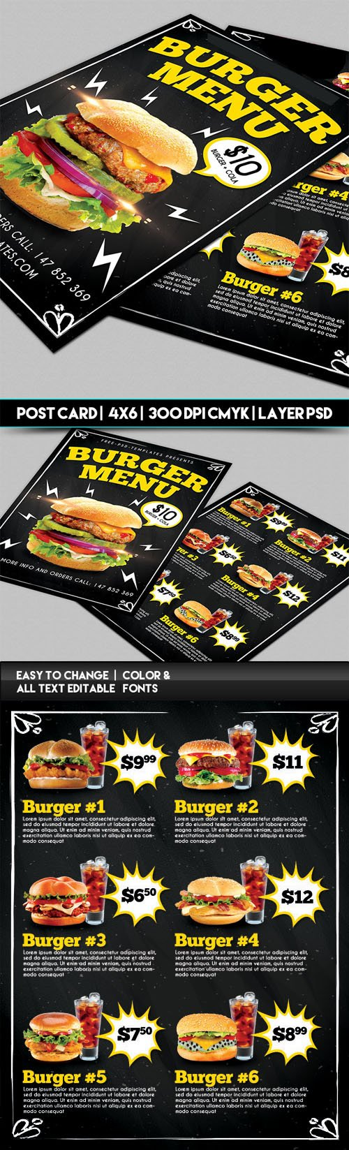 Burger Menu PSD Templates