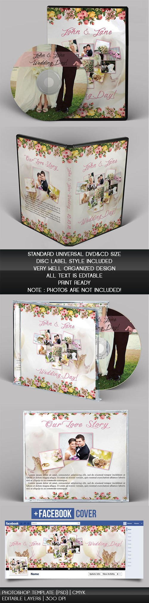 Wedding CD/DVD Cover - PSD Brochure Templates (+ Facebook Cover)