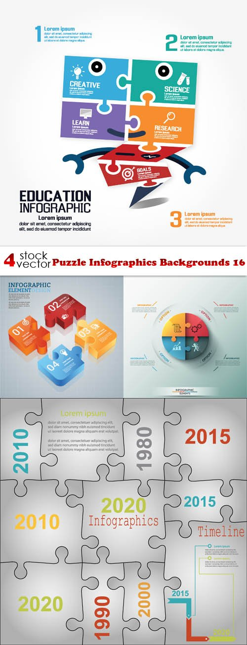 Vectors - Puzzle Infographics Backgrounds 16