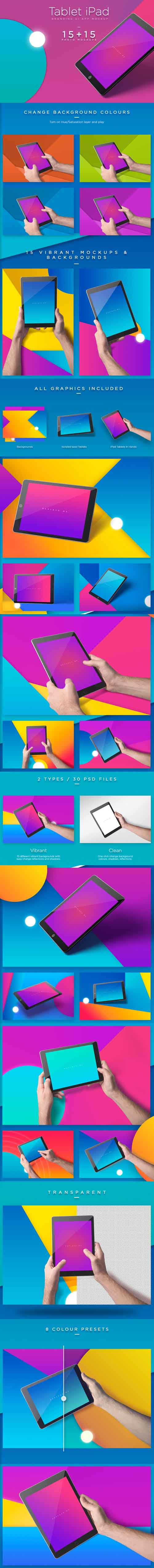 IPad Tablet UI App Mockups With Vivid Backgrounds