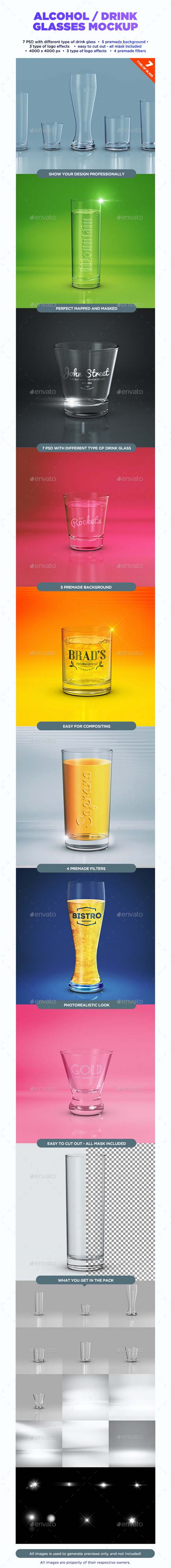 Alcohol / Drink Glasses Mockup 11696066