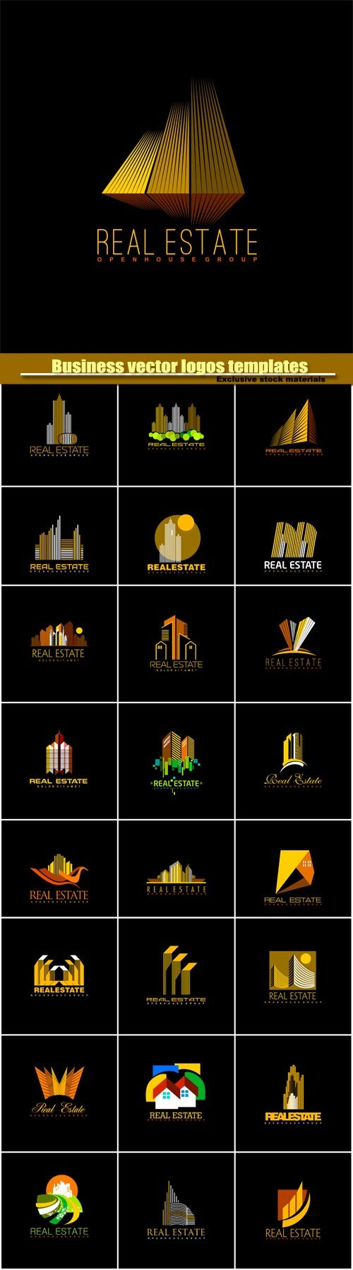 Business vector logos templates, creative gold figure icon #2