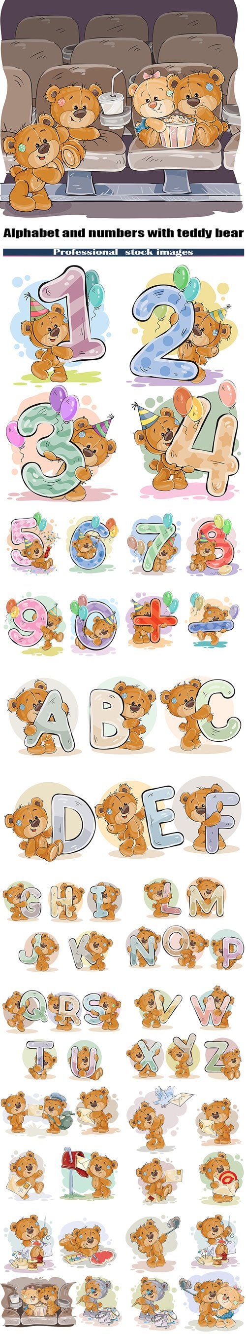 Letters of the English alphabet and numbers with funny teddy bear