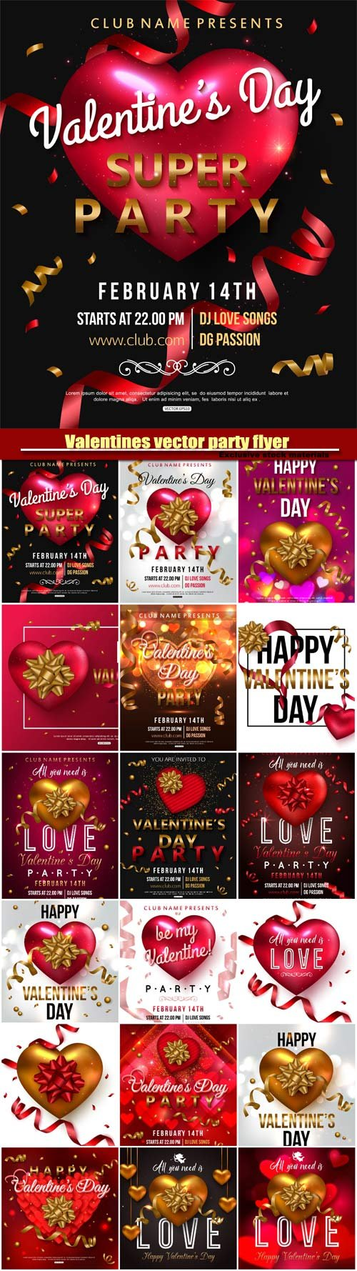 Valentines vector party flyer design with red heart bow ribbon