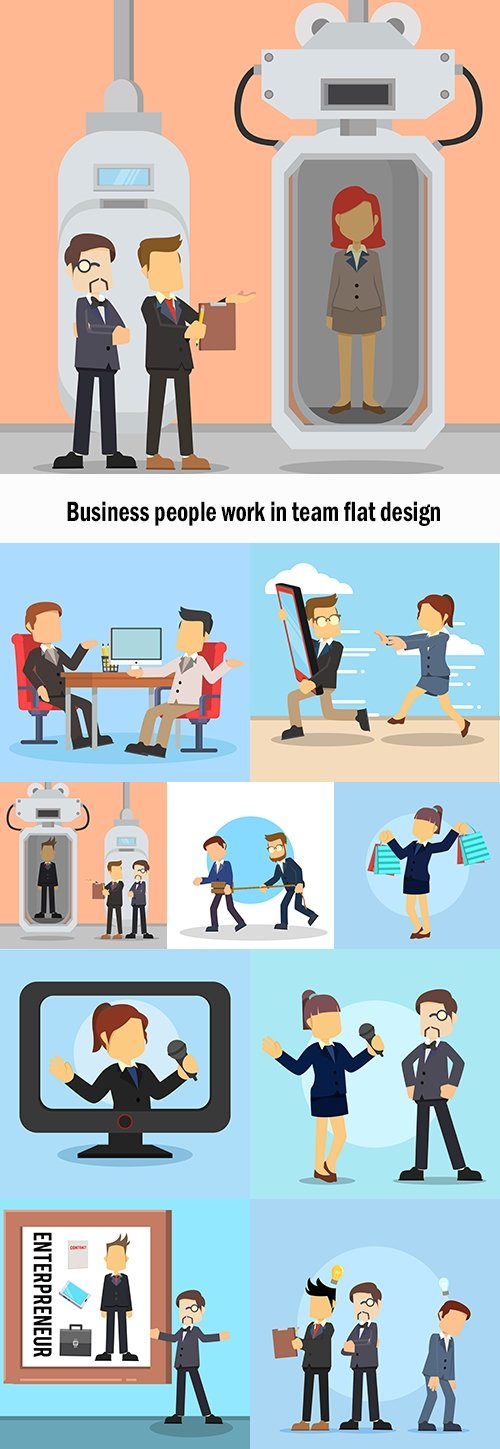 Business people work in team flat design
