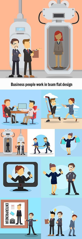 Business people work in team flat design
