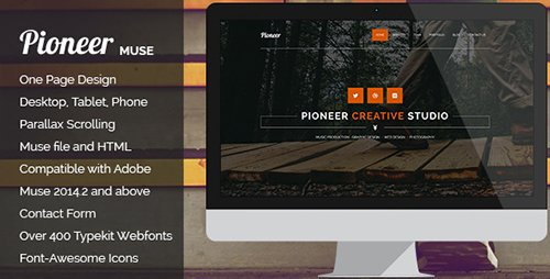 ThemeForest - Pioneer v1.0 - One Page MUSE Template - 10673767