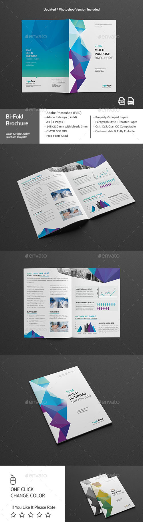 Nitrogfx download unique graphics for creative designers for Bi fold brochure template indesign
